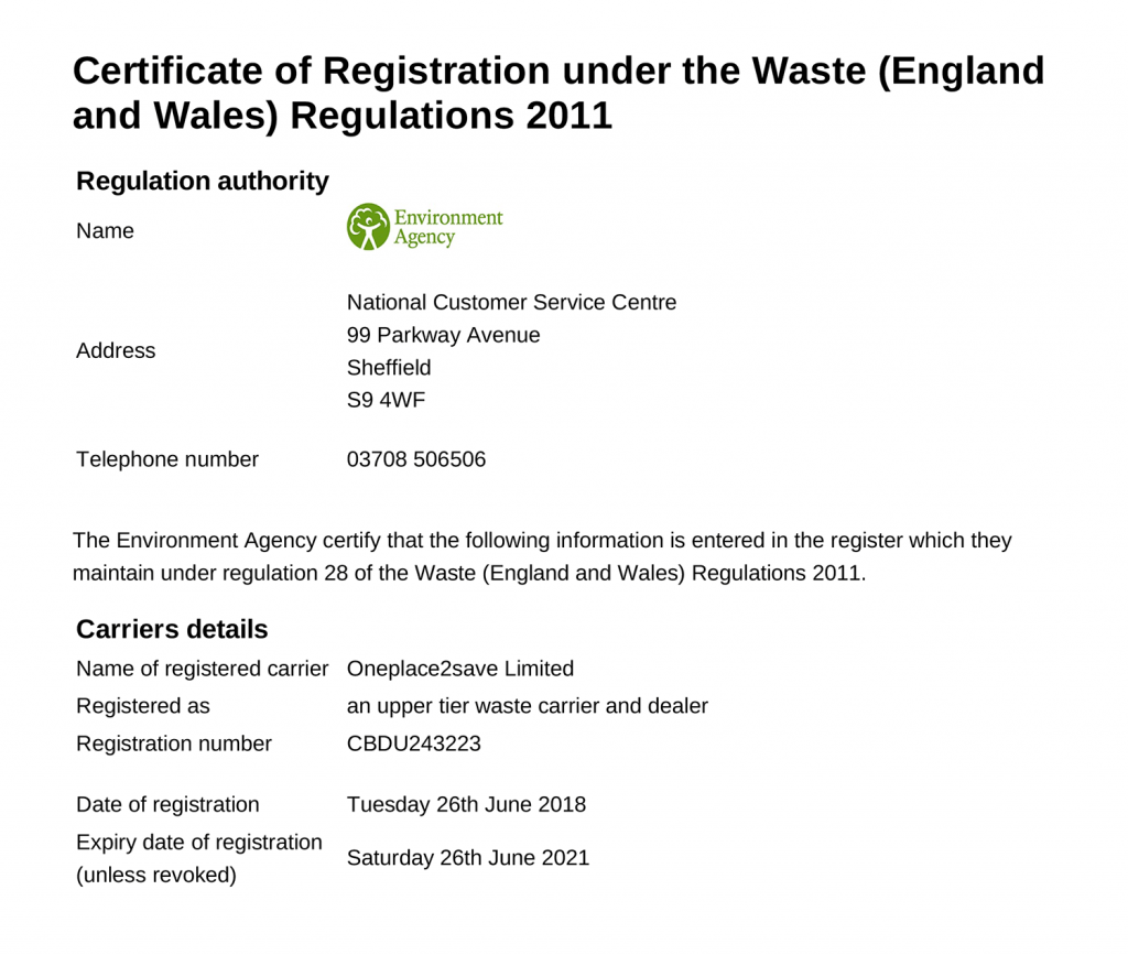 OnePlace2Save Waste Carrier License